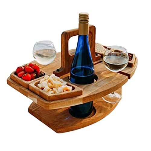 BestSiller Mesa de picnic de vino desmontable, pequeña mesa de vino de picnic con 4 celdas de comida, soporte de copa de vino de madera para el hogar, jardín, viajes, camping