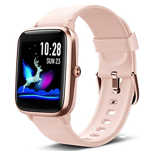 Lintelek Smart Watch, Full Touch Screen Smartwatch, 1.3 Inch Fitness Tracker with HR Monitor, Sleep Tracker, Stopwatch, IP68 Waterproof Fitness Watch Works with iOS, Android for Men, Women