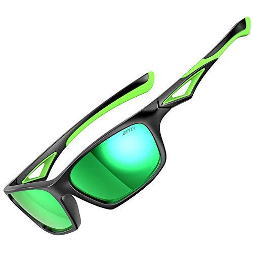 ATTCL Polarisierte Kinder Sonnenbrille TR90 flexibleRahmen Sportbrille für Jungen und Mädchen Alter 3-10 JDRW001 black+Green