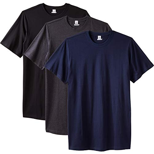 KingSize Men's Big & Tall Cotton Crewneck Undershirt 3-Pack - Big - 5XL, Assorted Basic