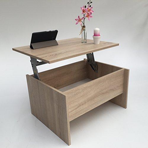 Möbel SD Couchtisch Wohnzimmertisch höhenverstellbar (James klein) Sonoma Eiche hell Sägerau L: 77 cm T: 57cm H: 42,5 cm offen H 62 cm