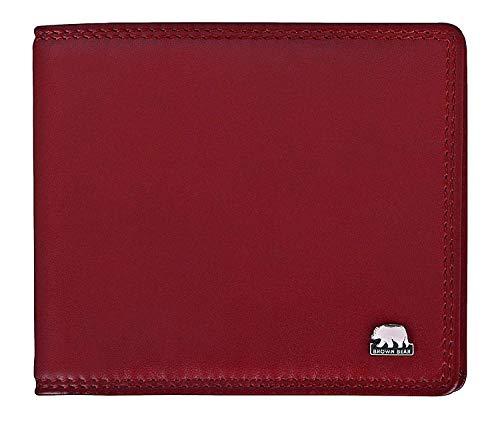 Brown Bear Notizblock-Etui Leder Rot Schreibmäppchen klein für Damen und Herren mit RFID Schutz für Bankkarten & Ausweise inklusive A7 Blöckchen