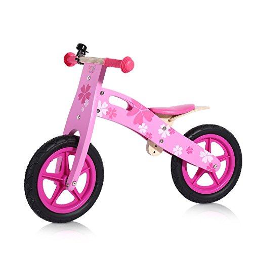 Baby Vivo Houten Loopfiets voor Kinderen Kinderfiets met 12 inch wielen Scooter Bloemen Vanaf 2 Jaar - Pinky