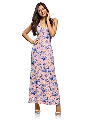 oodji Ultra Mujer Vestido Largo con Escote en la Espalda, Rosa, ES 42 / L
