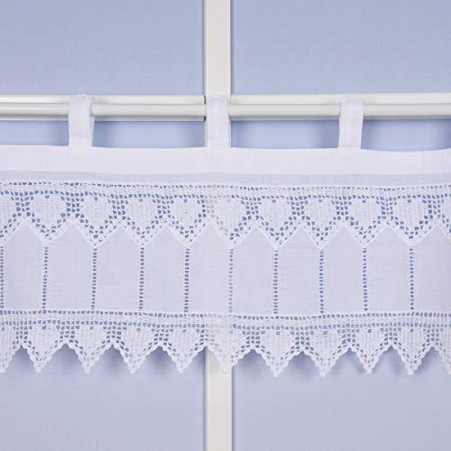 SCHÖNER LEBEN. Bello da Vivere. Hussen-Discount Panneaux - Tenda all'Uncinetto con Cuoricini e Passanti, 125 x 25 cm, Colore: Bianco
