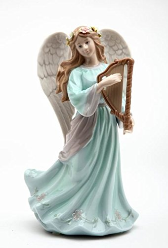Cosmos Gifts Fine Porcelain Inspirational Heavenly Angel Playing Harp Music Box Figurine (Music Tune: Hark The Herald Angel Sing), 8-1/4'H