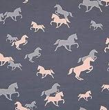 0,5m Jersey Pferde grau-rosa 5% Elasthan 95% Baumwolle