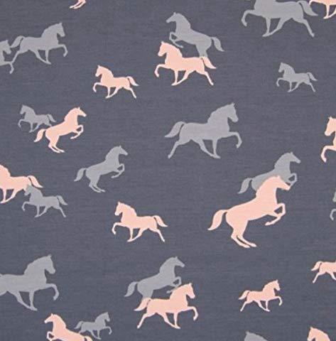 0,5m Jersey Pferde grau-rosa 5% Elasthan 95% Baumwolle Meterware 140cm breit