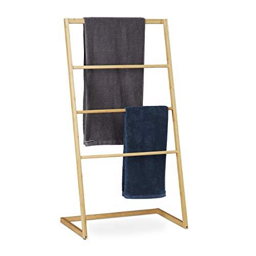 Relaxdays Handtuchhalter stehend aus Bambus, 4 Sprossen, für Handtücher & Kleidungsstücke, HxBxT 110 x 60 x 35 cm, Natur