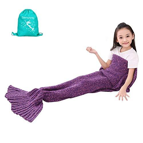 SENYANG Mermaid Tail Blanket, Mermaid Blanket for Kids Hand Crochet Snuggle Kids Mermaid Blanket for Girls, Sweet Girls Gifts for Girls Toys (Kid Thick Purple&Red)