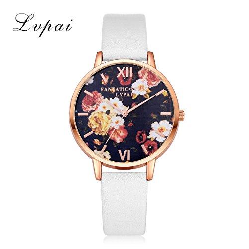 Dilwe Armbanduhr Weibliche Uhr PU Casual Lederband Quarz Analog mit Blumenmuster runden Zifferblatt(A)