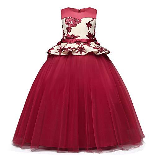 TTYAOVO Vestido de Princesa con Bordado sin Mangas para Niñas Vestido de Dama de Honor para Bodas Vestidos de Tul Vintage 8-9 Años 02Rojo