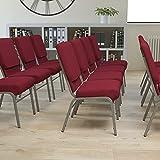 Flash Furniture HERCULES Series 18.5''W Church Chair in Burgundy Fabric with Book Rack - Silver Vein Frame