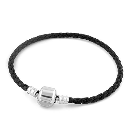 Heart of Charms Braided Handmade Leather Bracelets 3.5mm Wristband Men Women for Beads Charms (Black)