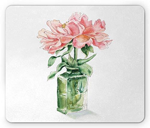 Bloemen muismat, Verf Rose Bloem in Vaas Tekening Print, Rechthoek Mousepad muismat tandard Grootte, Roze Hunter Groen