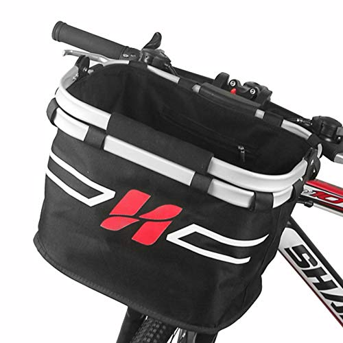 SHUB Fahrradkorb Vorne Abnehmbarer wasserdichte Faltbare Lenkerkorb Fahrradkörbe Easy Install mit Lenkeradapter für Mountainbike Bike Basket Hunde Fahrradkorb Einkaufskörbe Schwarz-D