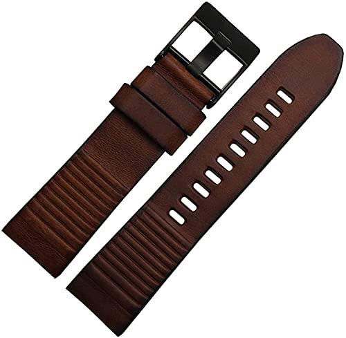PINGZG Pulsera de Cuero Genuino 24 mm de Reloj de Cuero Correa Mano Hecho a Mano Mans Relojes Barra de liberación rápida, cómodo Transpirable (Color : Brown Black Buckle, Size : 24mm)