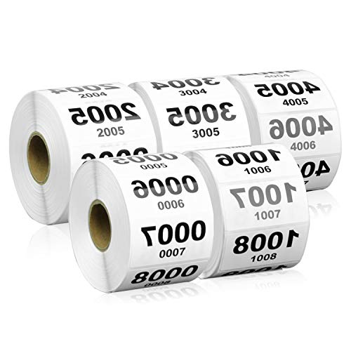 5000 Labels - Reverse Number Stickers, 0001-5000 Consecutive Numbers Labels for Inventory ( 2 x 1 inch / 5 Rolls / White )