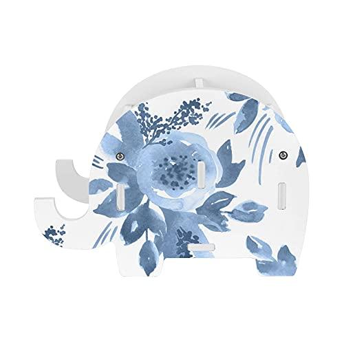 Peonía azul elefante titular de lápiz con soporte para teléfono multifunción extraíble pluma taza organizador de escritorio para oficina escritorio decoración del hogar