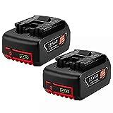 2 Pack Hochstern 18V 5.0Ah BAT609 de remplacement pour Bosch 18V batterie BAT609G BAT610G BAT618G BAT618 BAT618G BAT619 BAT619G BAT622 BAT620-2PK SKC181-202L avec indicateur de charge LED