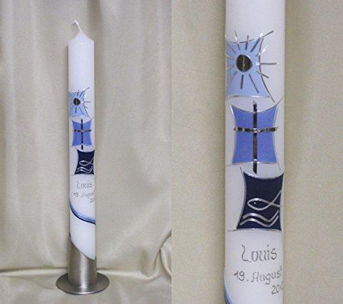 Taufkerze/Kommunionkerze 40 x 4 cm, inklusive Beschriftung und Aufbewahrungskarton ! P 50