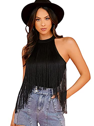 Verdusa Women's Fringe Trim Sleeveless Bodycon Halter Bodysuit Top Black S