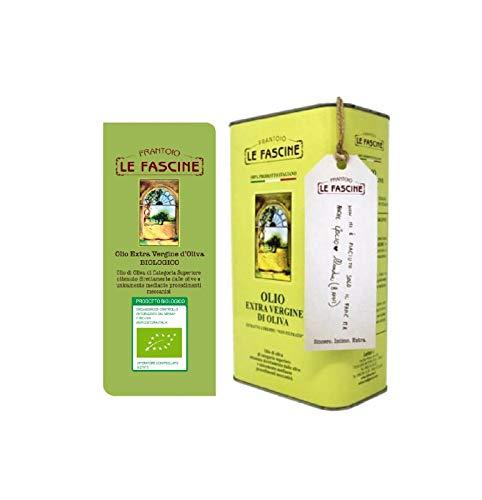 Le Fascine Olio Extravergine Di Oliva Biologico 100 % Italiano In Latta Da 3 Litri Prodotto da Mono Cultivar Provenzale ( Peranzane )