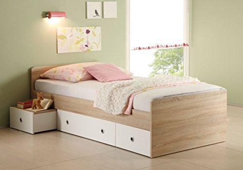 moebel-eins Tina Funktionsbett Tandemliege 90 x 200 cm inkl. 3 Schubkästen für Kinderzimmer Jugendzimmer als Kinderbett Jugendbett Holzbett in Eiche Sonoma Dekor/weiß
