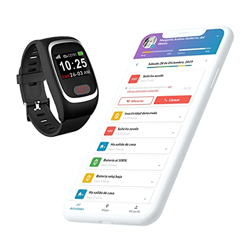 SeniorDomo Protect - Reloj localizador GPS, detección caídas y botón de Ayuda SOS Personas Mayores/Alzheimer (Negro)
