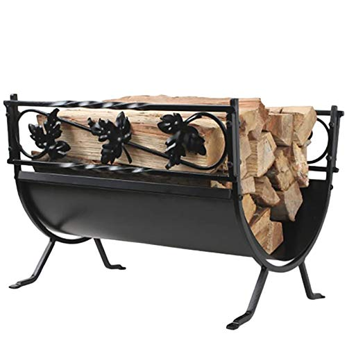 18.5inch Indoor Log Carrier Wood Holder Rack, with Scrolls & Leaf Pattern, Small Black Finish Firewood Rack Brackets, for Fireplace, Stove and Fire Pit Accessory
