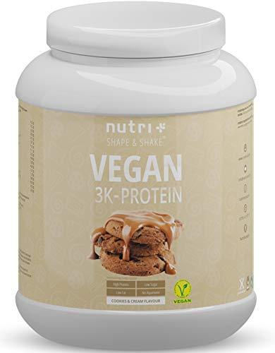 EIWEIßPULVER VEGAN Cookies & Cream 1kg - 81,9% Eiweiß - Nutri-Plus Shape & Shake 3k-Protein Powder - Veganes Proteinpulver ohne Laktose - Proteinisolat Pulver mit Keks Geschmack