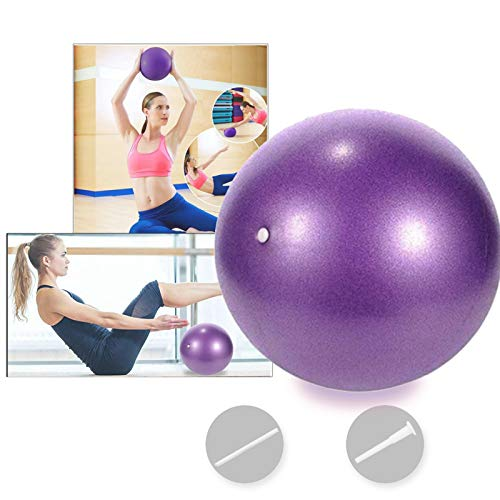 Bola YogaEjercicio,Pilates Pelota Equilibrio,Mini Balón Ejercicio Anti explosión 25cm,para Gimnasio, Yoga, Masaje y Pilates en Casa (púrpura)