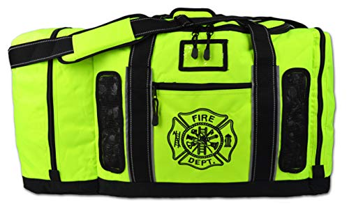 Newly Redesigned Lightning X Firefighter Fireman Quad-Vent Turnout Gear Bag w/Helmet Compartment, Mesh Vents & Maltese Cross for First Responder (Fluorescent Yellow)