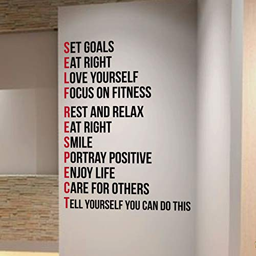 SELF RESPECT Gym Wall Decal Motivational Quote-Health and Fitness Spinning Kettlebell Crossfit Worko