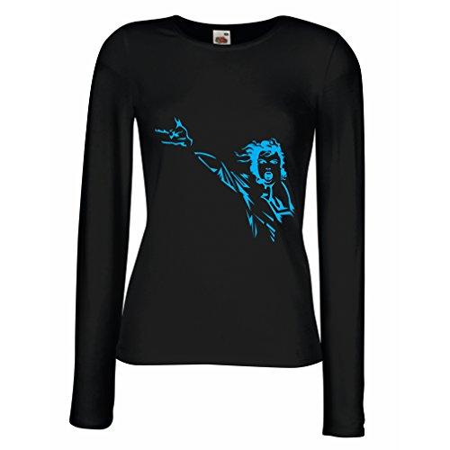 lepni.me Camisetas de Manga Larga para Mujer King of Pop, me Encanta M J - 80s / 90s, Camisa de Fiesta Musical (Medium Negro Azul)