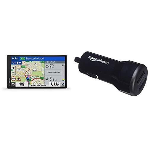 Garmin DriveSmart 65 MT-D EU Navi - extragroßes Touch-Display, 3D-Navigationskarten & Amazon Basics - Kfz-Ladegerät, USB-Anschluss: 2 Eingänge, 4,8Ampere / 24W, Schwarz