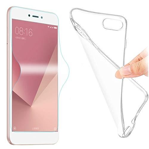 Kit Capa E Película Para Xiaomi Redmi 6a Com Tela de 5.45Capinha Transparente Clear Ultra Fina e Película De Gel Silicone Flexível - Danet