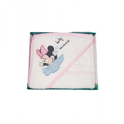 Accappatoio triangolo bimba neonato spugna Minnie Disney baby bianco rosa TU
