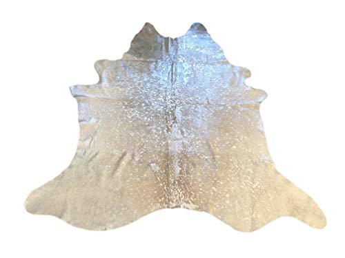 Suggaloaf Kuhfell Rinderfell Cowhide Metallic Hellgrau Silber Beige - 210 cm x 190 cm