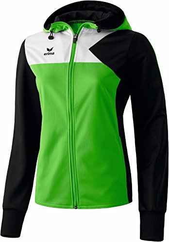 erima Damen Jacke Premium One Trainingsjacke mit Kapuze, Green/Schwarz/Weiß, 38