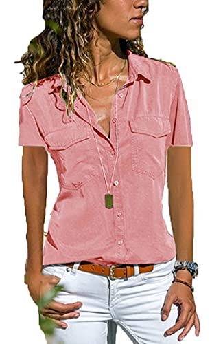 Womens Button Down V Neck Shirts Short Sleeve Blouse Summer Casual Work Plain Tops with Pockets Dusty Pink Large