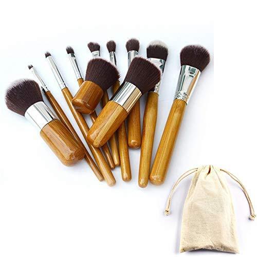 Lot de 11 pinceaux de maquillage avec manche en bambou respectueux de l'environnement