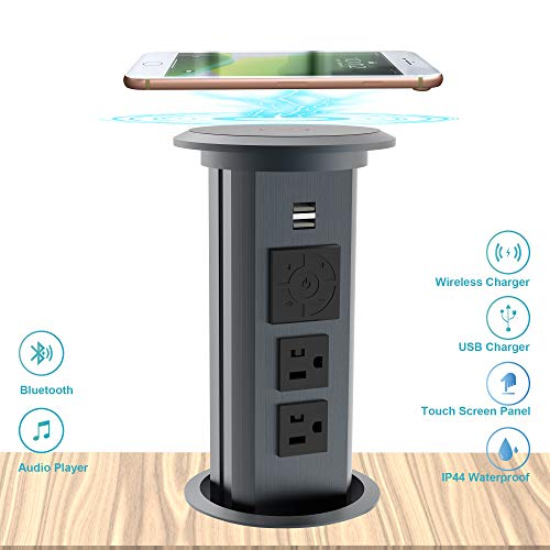 Check Out This Popcat Smart Motorised Pop Up Outlet Retractable Surge Protector Outlet Bluetooth Speaker Power Strip with 2 USB Ports 2 AC Outlet and Wireless Charging Dock for Kitchen Island Ofiice Table, Gray