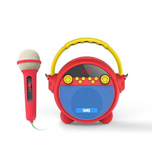 WE - Radio Despertador de Karaoke con Micro RMS de 5 W, BT, Reproductor Musical, USB, Micro SD, Radio FM, batería Recargable, Correa incluida