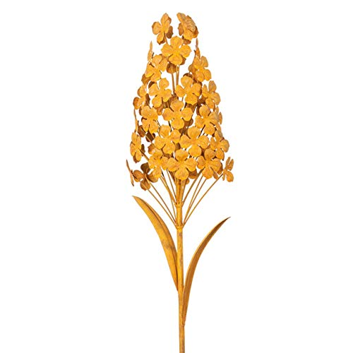 CIM Edelrost Gartenstecker - Edelrost Blume Hyazinthe - Abmessung: 13x 13 x 100cm - oxidierter Stahl - 3D Gartendekoration mit Rost-Optik