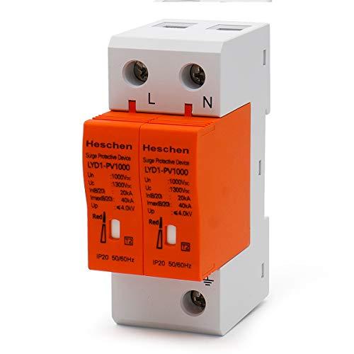 Heschen Überspannungsschutz für PV, LYD1-PV1000, 1000 V Gleichstrom, 20KA, 35mm DIN-Schienenmontage