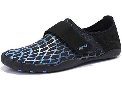Sixspace Badeschuhe Wasserschuhe Strandschuhe Schnell Trocknend Schwimmschuhe Breathable Aquaschuhe Surfschuhe für Herren Damen Blau 44 EU