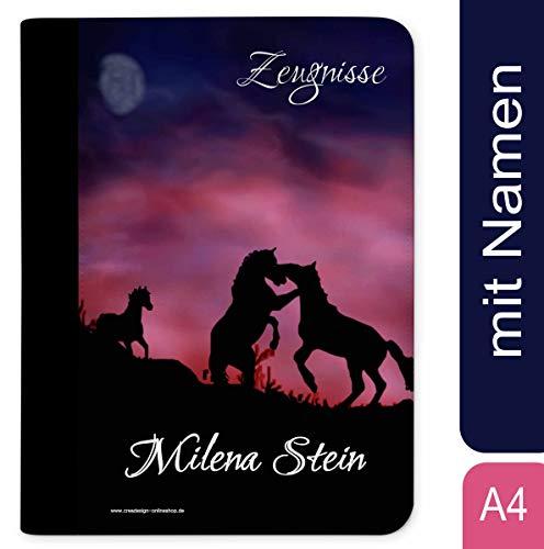 CreaDesign, Z-O-1033 Kinder Zeugnismappe mit Namen personalisiert, Motiv Pferde, A4, 24 x 31 x 1 cm, Rücken schwarz