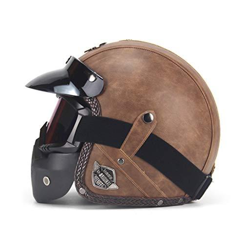 VAILANG Caschi in Pelle PU 3 4 Casco da Moto per Moto Casco Aperto da Moto Vintage con Maschera Maschera per Moto Scooter Mezzo Casco Marrone