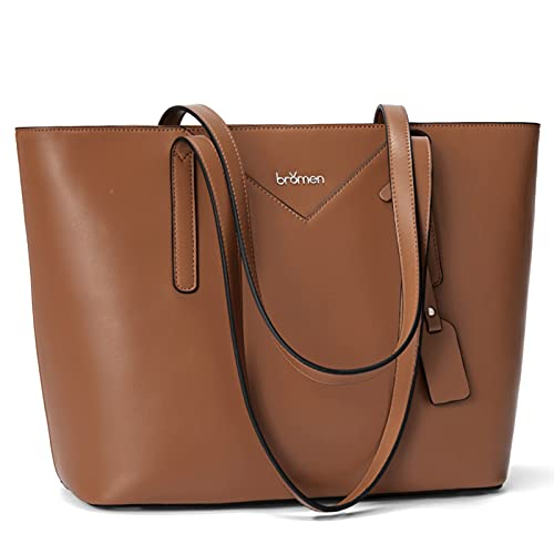BROMEN Purses and Handbags for Women Leather Handbags Tote Purses Large Capacity Shoulder Bags Brown